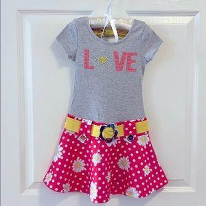 Lilt Daisy grey and pink Love dress sz 5